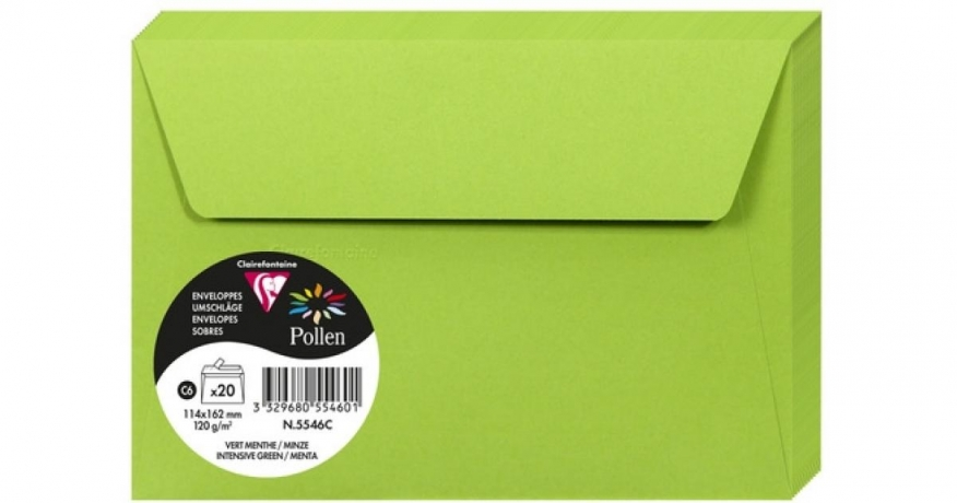 Envelope Verde Menta 114X162Mm 120G/M2